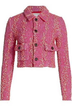 Bottega Veneta Women's Bouclé Cropped Jacket - Bubblegum Tomato - Size 0
