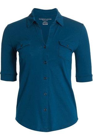 Majestic Women's Patch Pocket Cotton Shirt - Indigo - Size XS
