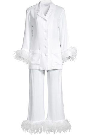 Sleeper Women's Party Ostrich Feather-Trim 2-Piece Pajama Set - - Size Small