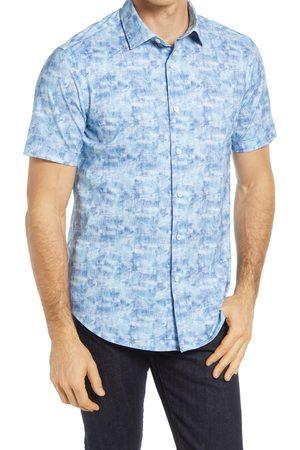Bugatchi Men Short sleeves - Men's Ooohcotton Tech Print Knit Short Sleeve Button-Up Shirt