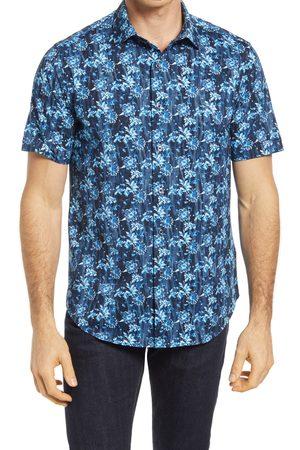 Bugatchi Men Short sleeves - Men's Ooohcotton Tech Floral Knit Short Sleeve Button-Up Shirt