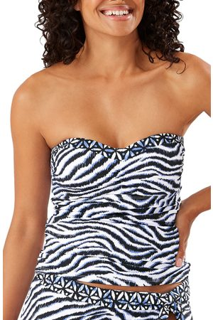 Tommy Bahama Women's Zanzibar Zebra Stripe Shirred Bandini Top