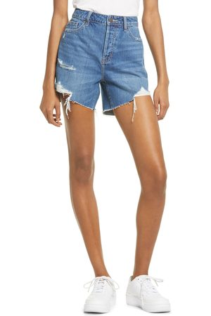 HIDDEN JEANS Women Shorts - Women's Destroyed High Waist Cutoff Denim Mom Shorts