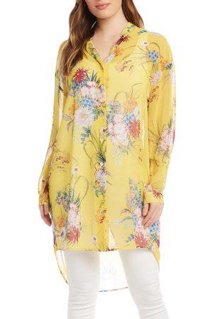 Karen Kane Women's Floral Print Long Button-Up Shirt