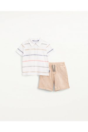 Splendid Toddler Boys Toddler Boy Painted Stripe Polo Set Egret - Size 4
