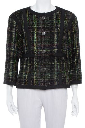 CHANEL Tweed Button Front Jacket L