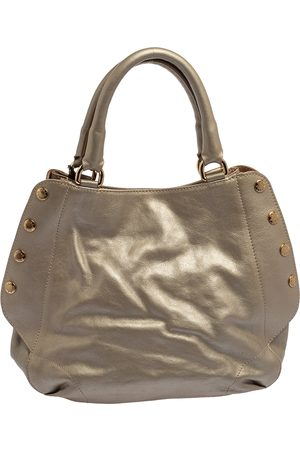 Furla Metallic Grey Leather Tote