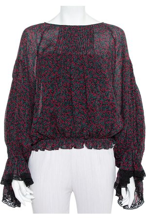Chloé Printed Cotton & Silk Pintuck Detail Long Sleeve Top M