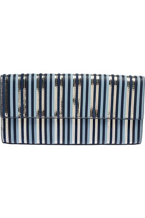 Diane von Furstenberg Leather Suede Stripe East West Envelope Clutch