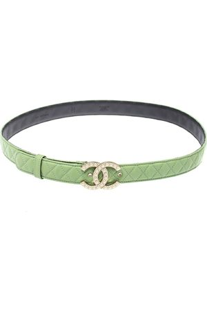 CHANEL Mint Quilted Leather CC Pearl Belt 85CM