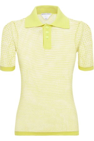 Bottega Veneta Women Polo Shirts - Fishnet Knit Polo Sweater