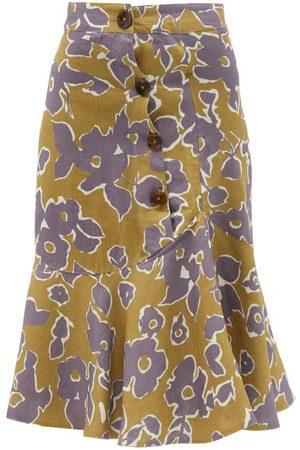 Cala De La Cruz Women Printed Skirts - Vivian Fluted Floral-print Linen Skirt - Womens - Multi