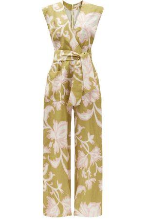 Cala De La Cruz Women Jumpsuits - Madeline Floral-print Linen Wide-leg Jumpsuit - Womens - Multi