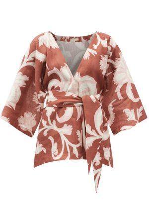 Cala De La Cruz Women Wrap tops - Carina Floral-print Linen Wrap Top - Womens - Print