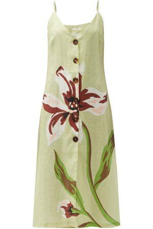 Cala De La Cruz Women Printed Dresses - Luisa Floral-print Linen Midi Dress - Womens - Multi