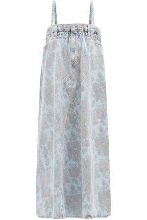 Ganni X Levi's Rose-print Denim Midi Dress - Womens - Denim Multi