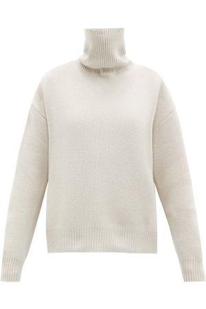 Raey Women Turtlenecks - Cropped Displaced-sleeve Roll-neck Wool Sweater - Womens - Light