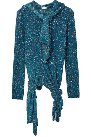 Loewe Scarf-neck Knotted Sequinned Sweater - Womens