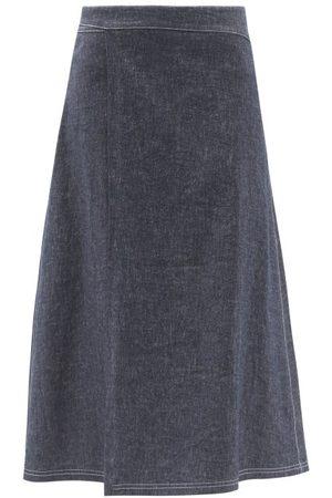 SARA LANZI Pareo Denim Wrap Skirt - Womens - Denim
