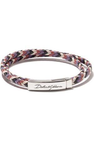 Dolce & Gabbana Logo-engraved Woven-leather Bracelet - Mens - Multi
