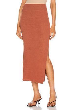 ENZA COSTA Silk Rib Pencil Skirt in Burnt Orange