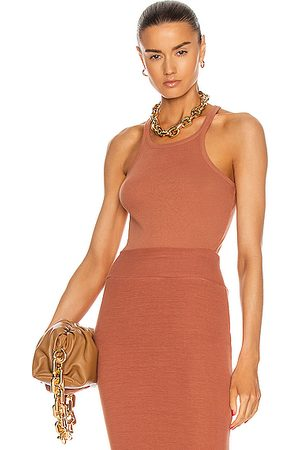ENZA COSTA Recycled Rib Reverse Racer Tank in Rust