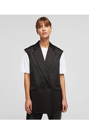 Karl Lagerfeld Women Gilets - TAILORED VEST WITH PLEATED BACK