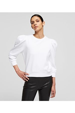 Karl Lagerfeld Women Sweatshirts - PUFFY-SLEEVE KARL LOGO SWEATSHIRT