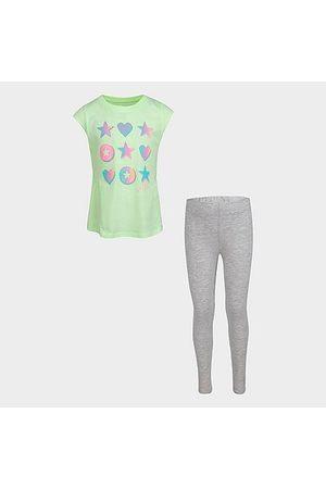 Converse Girls' Little Kids' Ruffle T-Shirt and Legging Set in / Size 4 Cotton