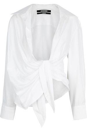 Jacquemus La Chemise Bahia draped woven shirt