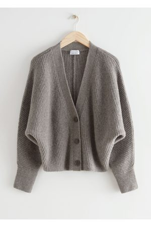 & OTHER STORIES Voluminous Wool Blend Rib Knit Cardigan