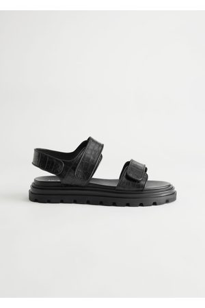& OTHER STORIES Women Sandals - Croc Embossed Leather Sandals
