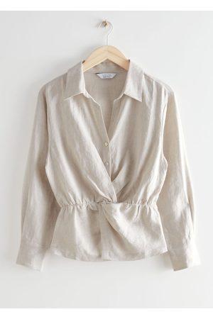 & OTHER STORIES Women Blouses - Buttoned Twist Waist Linen Blouse