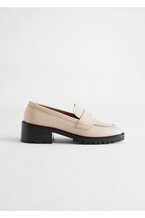 & OTHER STORIES Women Heels - Heeled Leather Penny Loafers