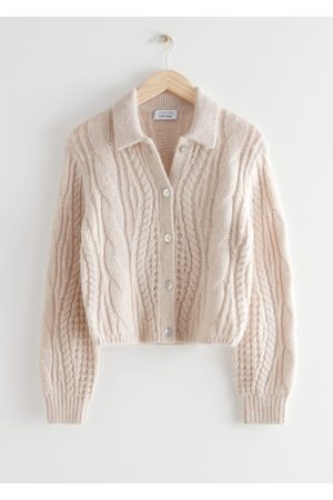 & OTHER STORIES Women Cardigans - Boxy Collared Cable Knit Cardigan