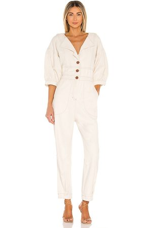 IORANE Women Jumpsuits - Denim Brim Jumpsuit in Ivory.