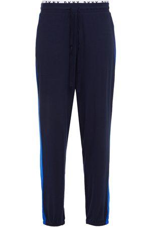 DKNY Woman Paneled Mélange Jersey Pajama Pants Navy Size L