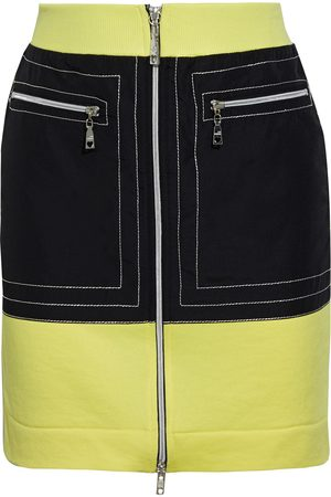 Love Moschino Woman Two-tone Shell-paneled French Terry Mini Skirt Size 40