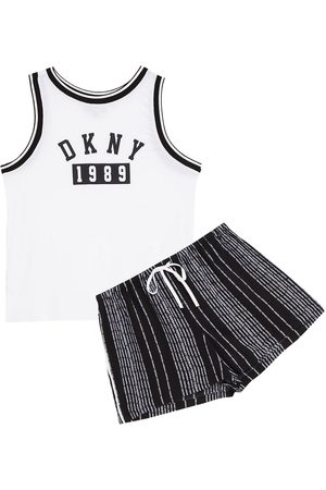 DKNY Woman Printed Jersey And Woven Pajama Set Size L