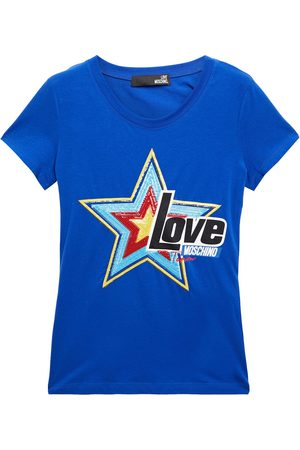 Love Moschino Woman Sequin-embellished Printed Stretch-cotton Jersey T-shirt Bright Size 38