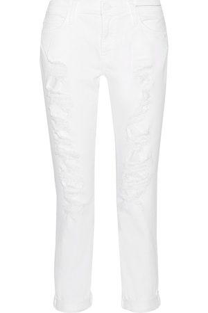 Current/Elliott Women Boyfriend Jeans - Woman The Fling Distressed Mid-rise Slim-leg Jeans Size 30