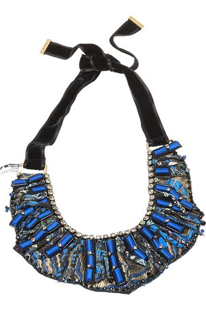 Etro Silk Brocade Crystal and Bead Statement Necklace