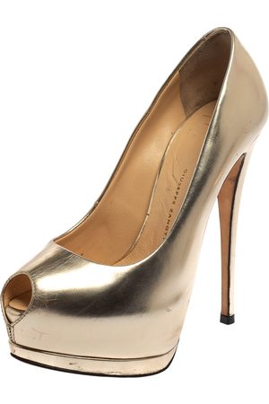 Giuseppe Zanotti Metallic Leather Peep Toe Platform Pumps Size 36.5