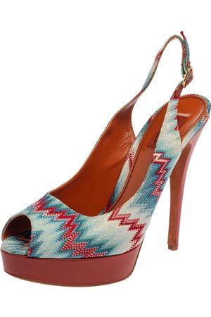 Missoni Knit Fabric Peep Toe Platform Slingback Sandals Size 40