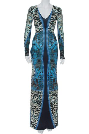Roberto Cavalli Printed Jersey V-Neck Long Dress S
