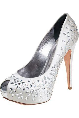 Gina Grey Satin Crystal Embellished Peep Toe Platform Pumps Size 39.5