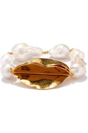 Jil Sander Women Bracelets - Baroque-pearl & Leaf Pendant Bracelet - Womens - Pearl