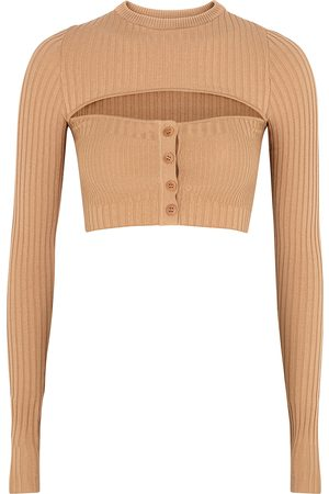 Andrea Adamo Women Tops - Camel cut-out cropped ribbed-knit top