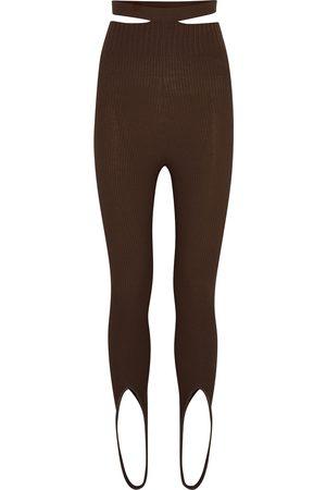 Andrea Adamo Women Jeans - Ribbed-knit stirrup leggings