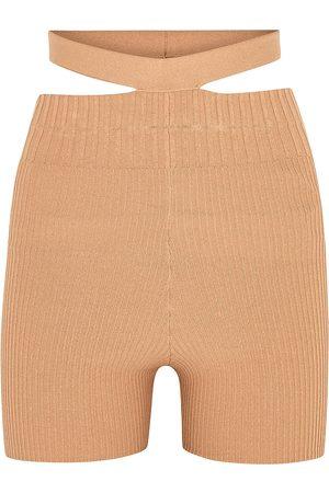 Andrea Adamo Women Shorts - Camel cut-out ribbed-knit shorts